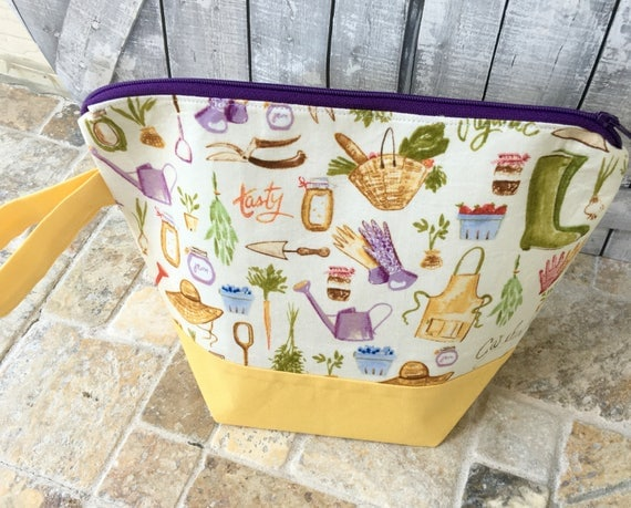 Project Bag,Small knitting Project bag,Gardener knitting bag,Sock Bag,crochet project ,knitting bag,Toad Hollow Bags,Wedge Bag,Knitter gift