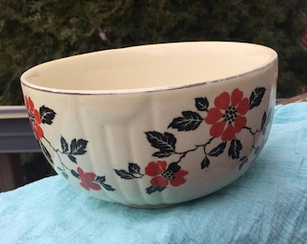 Hall's Superior Quality Kitchenware Red Poppy Nesting Bowl 6 inch by 3.5 tall