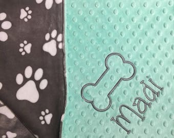 Pet Blanket Puppy Blanket Dog Blanket New Pet Owner Gift Pet Lover Gift Dog Blanket Paw Print Blanket Grey Paws Mint Pet Bedding Dog Bedding