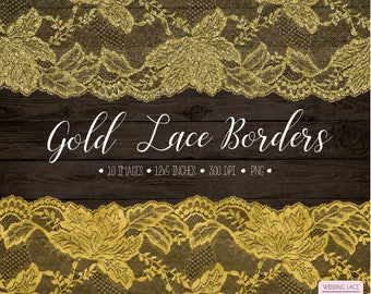 Gold Lace Clipart. Antique Gold Lace Overlays. Gold Glitter Wedding Lace. Bronze Bridal Shower Clipart. Vintage Gold Foil Seamless Lace.
