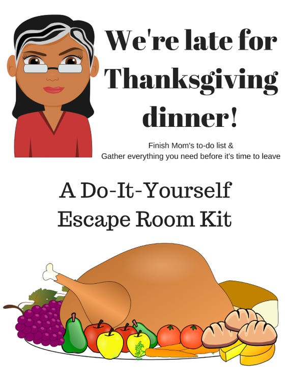 Were late for thanksgiving a diy escape room kit a diy escape room kit thanksgiving game family friendly ages 8 to 80 group game party game solutioingenieria Image collections
