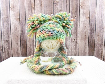 Rainbow Newborn Photography Prop Hat, Lollipop Hand-dyed Wool Baby Hat