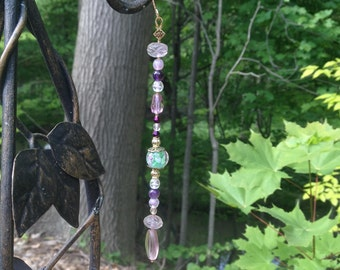 Amethyst and Glass Sun Catcher w/ Lampwork floral bead - purple, violet & gold
