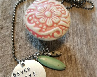 Never Give Up, Hand Stamped Necklace, Turquoise, Stone Beads, Bead Chain Necklace, Encouragement Necklace, Gift, MarjorieMae