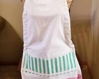 Christmas Tea Towel Apron, Full Apron, Adjustable Apron, Red & Green, Kitchen Apron, Tassel Apron, Ready to Ship, MarjorieMae