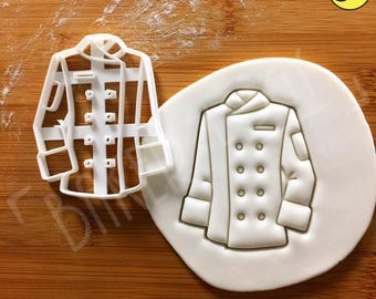 Chef's Jacket cookie cutter | Double-Breasted traditional uniform chef white little chef birthday party chefs cook kitchen culinary cuisine