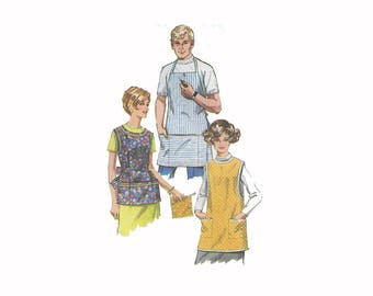 Vintage 1960s apron pattern, Simplicity 7974, women's size small, men's one size, sleeveless, cobbler pockets, tie back, PREVIOUSLY CUT