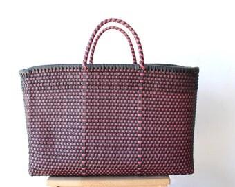 Dark Brown & Dark Pink Woven Tote bag, Picnic Basket, Beach Bag, Getaway Bag, Picnic Bag, Weekend Bag, Travel Bag, Mexican Gift, Mexico Bag
