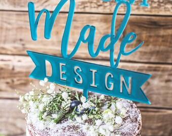 Custom Made Cake Topper Personalised Wedding Cake Topper Custom Logo Design Birthday Cake Decoration UK Customised wedding cake topper logo