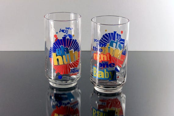 Diet Pepsi Glasses, Uh Huh, You Got The Right One Baby, Promotional Glasses, Set of 2, Collectible