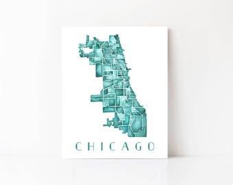 Chicago Neighborhood Map Etsy - Chicago neighborhood map art