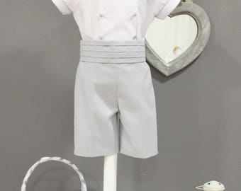 Boys wedding suit. Beautiful ring bearer outfit. Boy special occasion wear in pique. Boys weeding outfit, bow tie. Made In white and grey