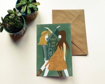 First Aid Kit Band Folk Illustration Birthday Greeting Card