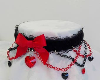 Limited Made To Order Red Deluxe Goth Real Swarovski Crystals Heart Velvet Lace Choker