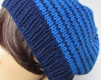 Navy Blue and Blue Stripped Slouchy Beanie