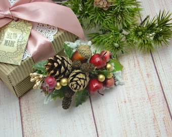 christmas/gift/for/her Winter wedding Gift/for/friend Hair accessories Bridal hair clip Rustic wedding Hair clip for girl Beauty gift