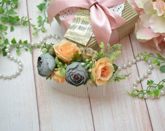 Gift/for/her Grey peach flower comb Wedding hair style Bridal hair piece Bridesmaid flower comb Autumn wedding Rustic flower comb Gray