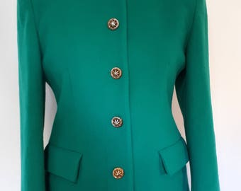 Vintage jacket wool cashmere mix emerald green collarless jacket English Made size medium