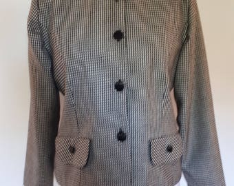 Vintage checked jacket 80s black and white checked jacket collarless size  large