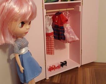 Pink wardrobe/ doll armoire/ 1:6 scale wardrobe/ wooden playscale closet/ doll clothes storage/ barbie blythe fashion royalty bjd sized