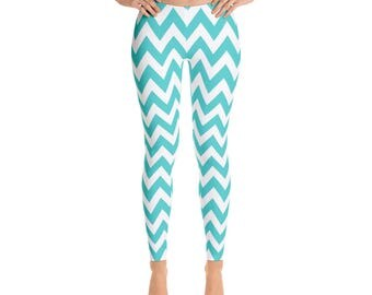 Leggings, Aqua Chevron Pattern Leggings, Capri Leggings, Yoga Pants,Ankle Length Leggings, Adult Sizes XSmall, Small, Med, Large and XLarge