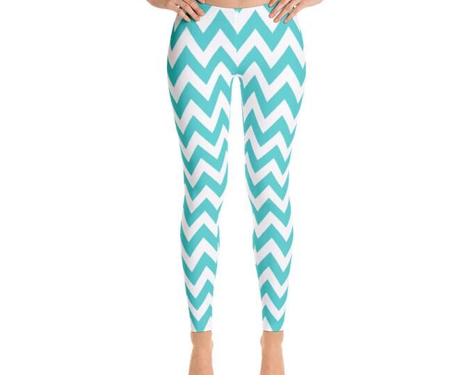 Leggings, Aqua Chevron Pattern Leggings, Capri Leggings, Yoga Pants,Ankle Length Leggings, Adult Sizes XSmall, Small, Med, Large and XLarge