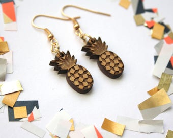 Pineapple earrings, kitsch jewelry, natural wood gold color, brass wooden jewel, graphic fruit earing made in France Paris, unique gift