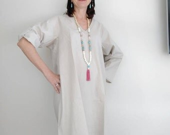 Cotton, Vneckline Dress, Eco Dress, Maternity Dress, Tunic Dress,
