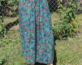 Vintage High Waist Blue Argyle Skirt