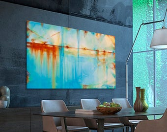 Abstract painting Large Turquoise Blue Green Orange moderne xxl original painting. Dimensions: 63.8 x 38 inches (162 x 97 cm)