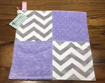Lovey Blanket - Ribbon Tag Blanket - Security Blanket - Lovie Blanket - Baby Shower Gift - Baby Girl Minky Lovey Blanket - Chevron Fabric