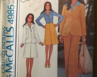 McCalls 4985 - 1970s Mario's Corner Yoked Jacket with Notched Collar, Knee Length Skirt, and Pants - Size 14 16 18