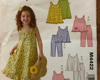 McCalls M4422 - Stitch 'n Save Little Girls Summer Dress, Top, and Pants - Size 6 7 8