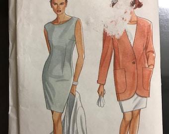 Simplicity 7667 - 1990s Sheath Dress and Jacket with Shaped Hem - Size 8 10 12 14