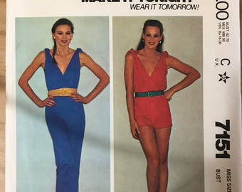 McCalls 7151 - 1980s Sleeveless Plunging V Neckline Jumpsuit or Romper - Size 14 Bust 36