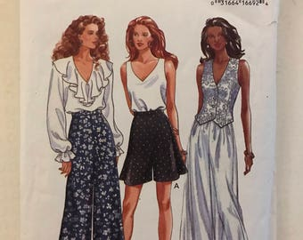 Butterick 6863 - Fast and Easy Wide or Tapered Pants and Shorts - Size 6 8 10