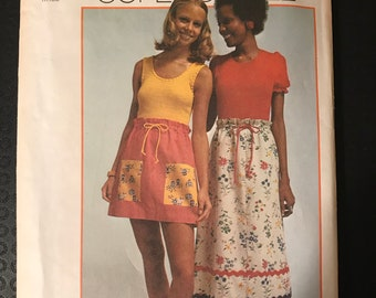 Simplicity 6170 - 1970s Super Simple Skirts in Mini or Maxi Length - Size Small 8 10