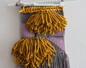 Handwoven Wall Hanging . Royal Yellow, Gray & Violet | Wall Hanging | Tapestry | Weaving | Handwoven Wall Art | Tissage Mural | Wandbehang