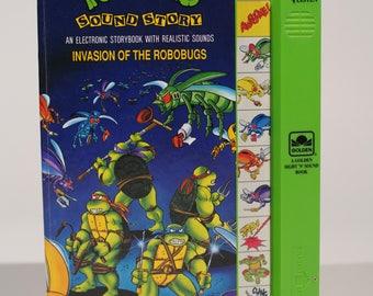 1990 TMNT Storybook w/ Electronic Sounds! Teenage Mutant Ninja Turtles Invasion of the Robobugs