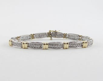 "14k Yellow And White Gold Diamond Tennis Bracelet 7"" 1.50 carats"