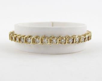 "14K Yellow Gold S Style Certified Diamond Tennis Bracelet 7"" 4.00 carats"