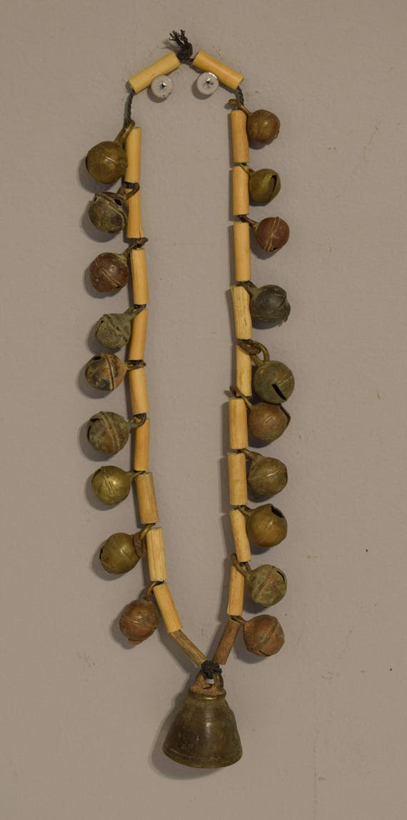 Cambodian Khmer Brass Bell Bamboo Necklace Elephant Monk Ceremonial Cambodian Bell Necklace