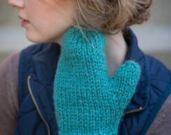 Knit Mittens- Hand Knit, Fuzzy Women's Mittens