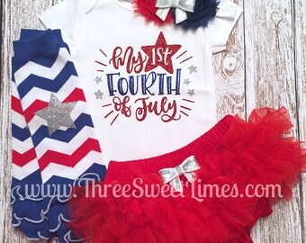 4th Of July Baby Girl Outfit | 1st Fourth Of July Baby Girl Outfit | Independence Day Bodysuit | Red And Blue Glitter | Leg Warmer Tutu
