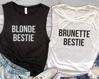 Blonde Bestie Brunette Bestie Tank Tops - Best Friend Gift - Blonde and Brunette Best Friends - Blonde Best Friend Brunette Best Friend