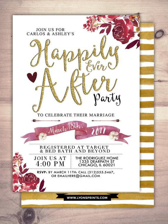 Happily ever after invitation BOHO wedding shower Invitation  Happily ever af...