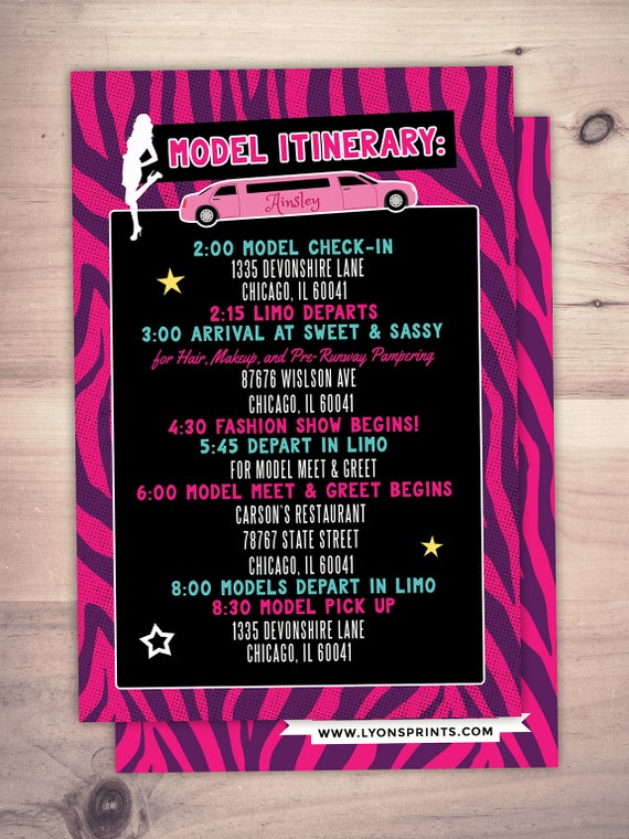 Itinerary limo party rock the runway limo sleepover birthday il570xn stopboris Image collections