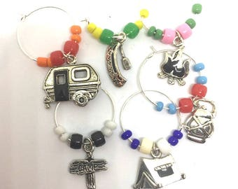 Camping Theme Wine Charms with Colored Beads x6.