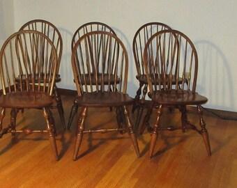 Set 6 Braced Fiddle Back Windsor Chairs Walnut 5 Nichols U0026 Stone And 1 S.