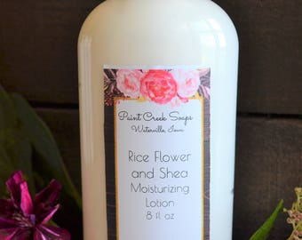 Rice Flower Shea Moisturizing Lotion   8 OZ   Enriched with Cocoa Butter, Shea Butter, Aloe, Vitamin E   Handcrafted in Iowa